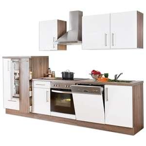 Küchenblock JETTE - weiß Lacklaminat matt-Trüffel - mit-E-Geräten