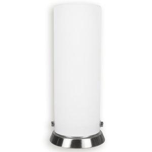 Tischlampe PIPE - weiß - Nickel matt - Glas