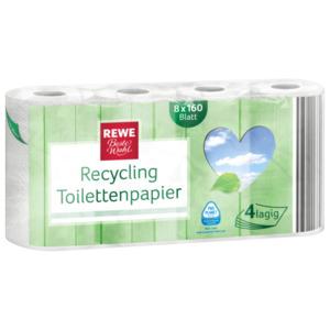 REWE Beste Wahl Recycling Toilettenpapier 8x160 Blatt