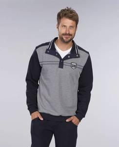 Sweatshirt mit Stehbund, Farbe grau/marine