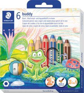 buddy-Buntstifte 3 in 1, 6 Farben, inkl. Anspitzer