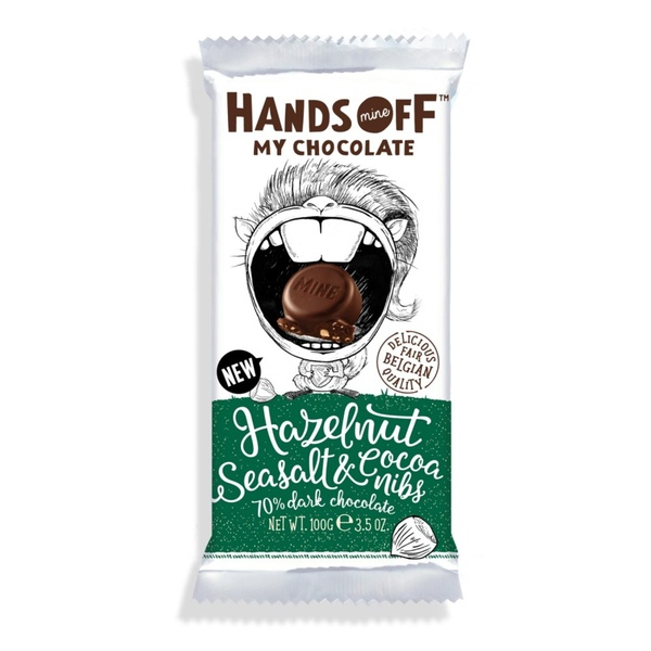 Hands Off Hazelnut Seasalt & Cacao Nibs 70% 100g 3,40 € / 100g