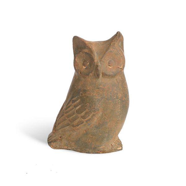 Dekofigur Eule, Terrakotta, H:27cm, braun