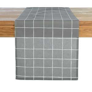 Tischläufer Modern Check, B:40cm x L:150cm, hellgrau