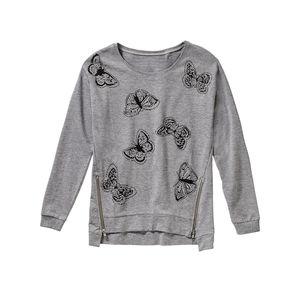 Laura Torelli COLLECTION Damen-Sweatshirt mit schrägen Reißverschlüssen