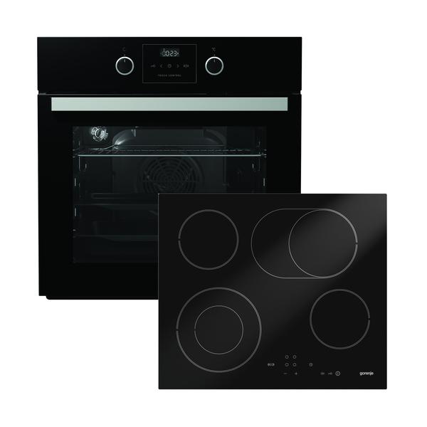 Gorenje Hot Chili Set 5 Schwarz Einbau-Herdset mit Glaskeramikkochfeld bestehend aus BO 637 E31XG-2 + ECT 620 SC-