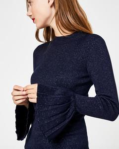 Lurex-Pullover mit Plissee-Details