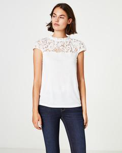 A-Linien-Shirt mit Spitzenpasse