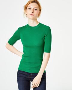 Halbarm-Pullover mit Stehkragen
