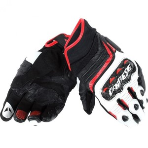 Dainese            Carbon D1 Lederhandschuh kurz schwarz/weiß/rot