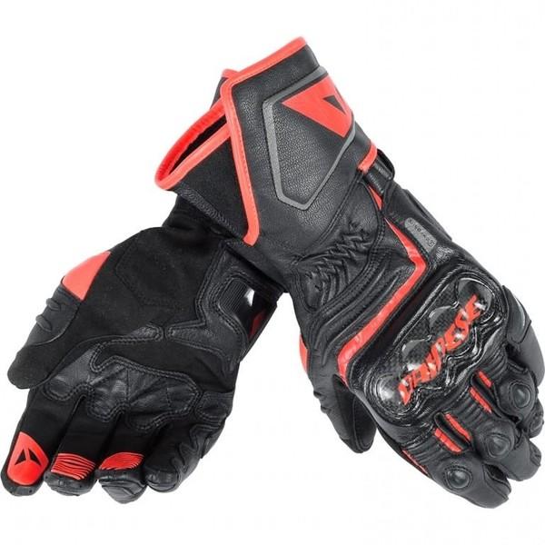 Dainese            Carbon D1 Lederhandschuh lang schwarz/rot