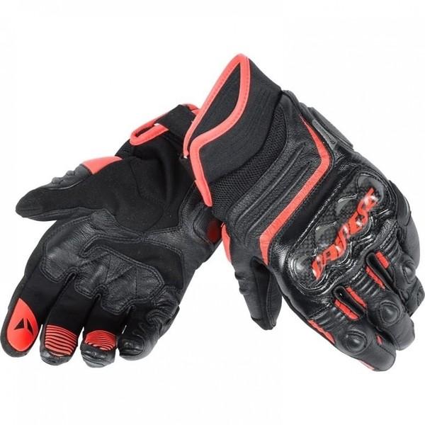 Dainese            Carbon D1 Lederhandschuh kurz schwarz/rot
