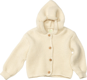 ALANA Baby-Kapuzenjacke, Gr. 62, in Bio-Schurwolle, natur, für Mädchen und Jungen