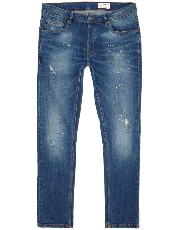 Herren Stone Washed Slim Fit Jeans im Destroyed Look