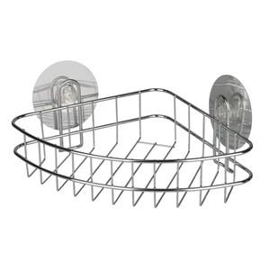 Wenko Static-Loc Duschkorb, Eckablage, ohne Bohren, Metall, 26,5 x 11,5 x 19 cm