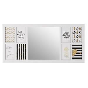 Bilderrahmen mit Spiegel, 8 Fotos, 75 x 35 x 1,8 cm, weiß