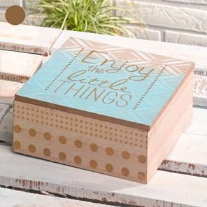 Aufbewahrungsbox, Holz, Klappdeckel, 15 x 6 x 15 cm, blau