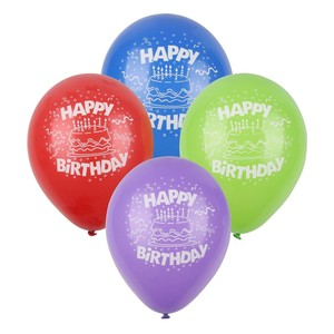 Ballons Happy Birthday, 4er-Set