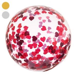 Konfetti-Luftballon, durchsichtig, 45 cm, silber