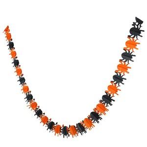 Halloween-Girlande Spinnen, Papier, 4 m, schwarz/orange