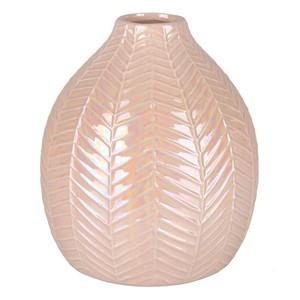 Deko-Vase bauchig, Blätter, 14 x 16 x 14 cm, rosa