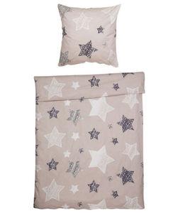 Biber Bettwäsche - Sterne, atmungsaktiv - ca. 140 x 200 cm, ca. 70 x 80 cm