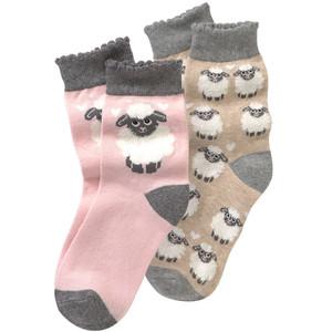 2 Paar Mädchen Socken mit Schaf-Motiv