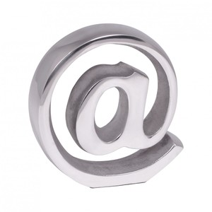 WOHNLING Buchstütze @ Zeichen Design 15cm Aluminium-Dekoration Buchständer modern Katalogstütze silb