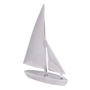 WOHNLING Deko Segelboot Aluminium Design Segelyacht Silber Wohndeko Klipper Esstisch-Dekoration Sege