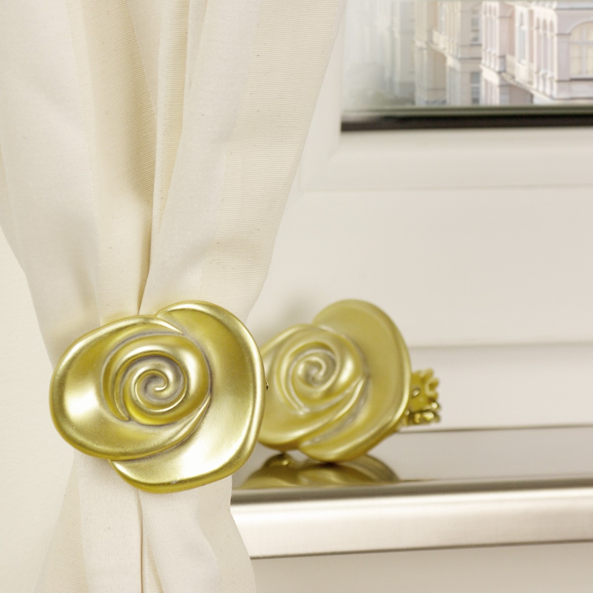 Bild 2 von Bella Casa Dekoklammer, Donauklammer, Dekoration Gardinenstangen Vorhänge, Rose vermessingt, 2 Stück