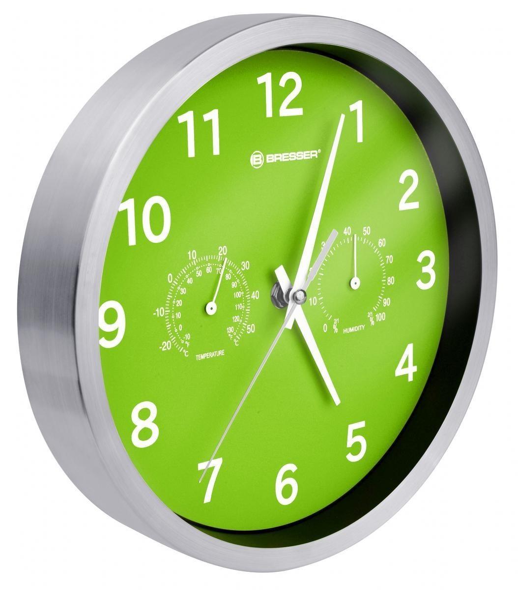 Bild 1 von Bresser® MyTime Quarz Thermo-/ Hygro- Wanduhr 25cm grün