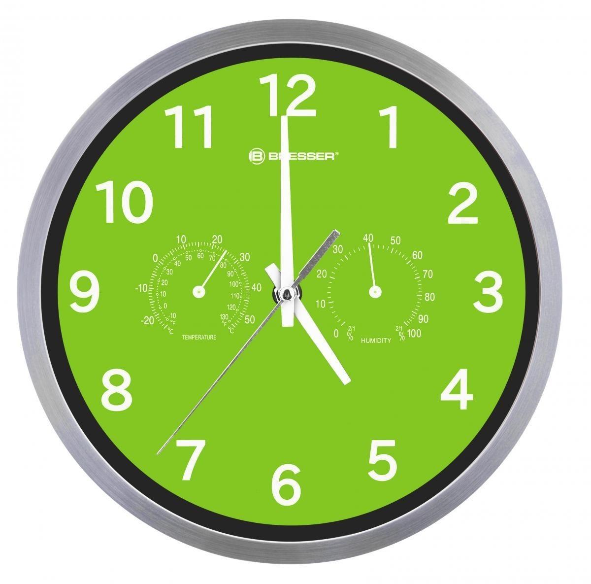 Bild 2 von Bresser® MyTime Quarz Thermo-/ Hygro- Wanduhr 25cm grün