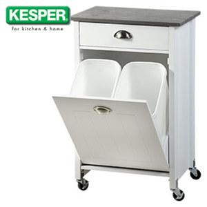 Küchenwagen mit Mülltrennsystem - 1 Schublade und 1 klappbarer Unterschrank - 2 herausnehmbare Abfalleimer, je ca. 15 Liter Inhalt  - Maße: ca. H 79 cm x B 50 x T 37 cm (Maße inkl. Rollen)