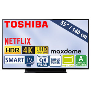 "55""-Ultra-HD-LED-TV 55V5863DA • HbbTV, H.265, HDR10 • 3 HDMI-/2 USB-Anschlüsse, CI+ • 2 x 10 Watt RMS • Stand-by: 0,5 Watt, Betrieb: 86 Watt • Maße: H 72,2 x B 124,3 x T 7,4 cm • Energi"