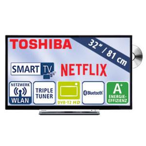 """32""""-LED-HD-TV/DVD 32D3763DA • Auflösung 1366 x 768 Pixel, H.265 • 3 HDMI-/2 USB-Anschlüsse, CI+ • Stand-by: 0,5 Watt, Betrieb: 31 Watt • Maße: H 43,7 x B 73,5 x T 9,0 cm • Energie-Effizi"""