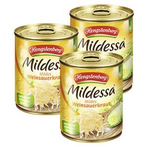 Hengstenberg Mildessa Weinsauerkraut oder HAK Rotkohl jede 850-ml-Dose/770/700 g Abtropfgewicht, ab 3 Dosen