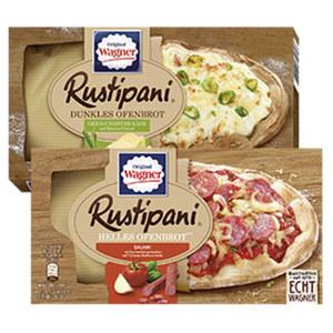 Original Wagner Rustipani Salami Tomate 170 g oder Geräucherter Käse auf Ricotta Creme 175 g gefroren, jede Packung und weitere Sorten