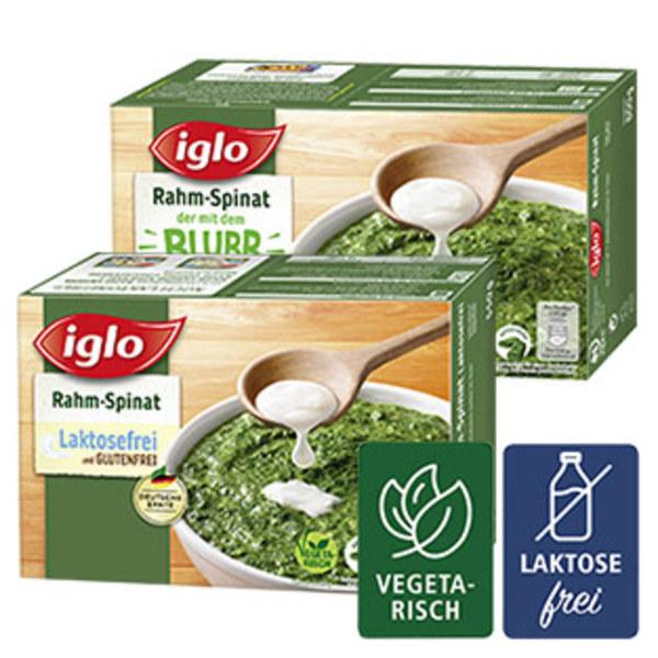 Iglo Rahmspinat Minis oder Rahmspinat Lactosefrei gefroren, jede 800/550-g-Packung und weitere Sorten