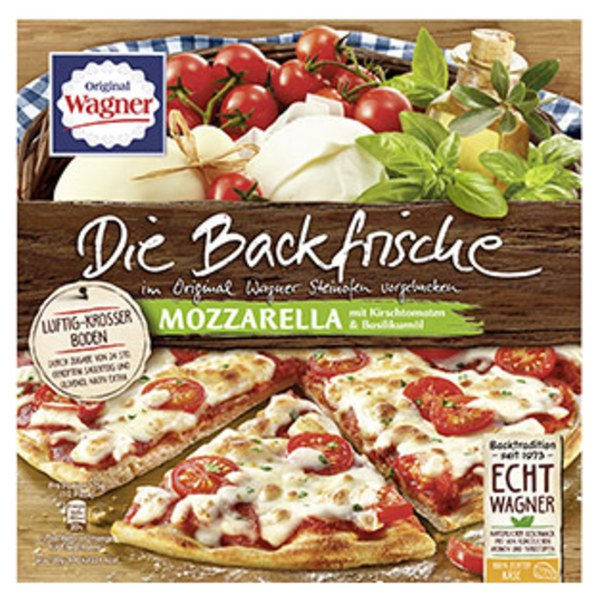 Original Wagner Die Backfrische Mozzarella Kirschtomate gefroren, jede 350 g Packung und weitere Sorten