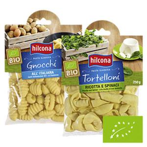 Hilcona Bio Gnocchi oder Bio Tortelloni Ricotta-Spinat aus dem Kühlregal und weitere Sorten jede 300/250-g-Packung