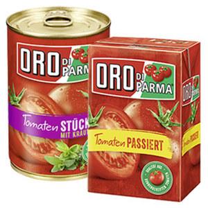 Oro di Parma Tomaten stückig oder passiert versch. Sorten,  jede 400-g-Dose/Packung
