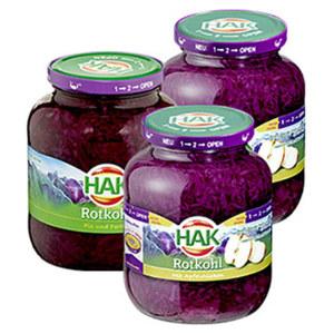 HAK Rotkohl mit Apfelstücken oder Rotkohl fix und fertig 720-ml-Glas/700 g Abtropfgewicht, ab 3 Gläsern