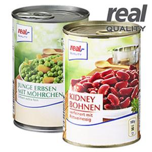Kidney Bohnen oder Junge Erbsen mit Möhrchen und weitere Sorten, jede 425-ml-Dose/240/ 265 g Abtropfgewicht