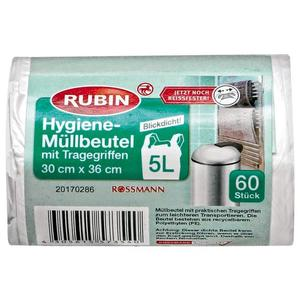 RUBIN Hygiene-Müllbeutel mit Tragegriffen 5 l