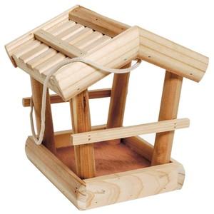 Vogelfutterhaus aus naturbelassen FSC-Holz mit Kordel