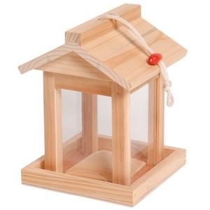 Vogelfutterhaus Viereck aus FSC-Holz mit Kordel