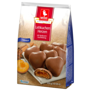 Weiss Meisterklasse Gefüllte Lebkuchen-Herzen Vollmilch 300g