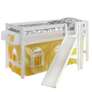 Spielbett Tino - Buche massiv - Gelb - Weiß, Ticaa