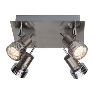 EEK A++, LED-Deckenleuchte Kassandra 4-flammig - Silber Metall, verchromt, Brilliant