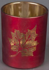 Teelichtglas - Blatt - 6 x 7,5 cm